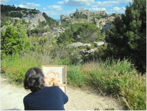Vivian Matt painting at Les Baux - May 2016